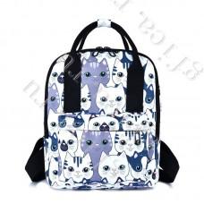 Рюкзак Молодежный Белый с котами DST-006