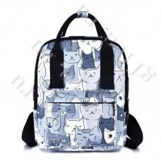 Рюкзак Молодежный Белый с котами DST-004