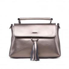 Маленькая женская кожаная сумка на плечо MIRONPAN 1002 цвет Серебро