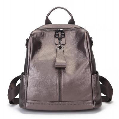 Рюкзак кожаный MIRONPAN 9040 цвет Темное серебро