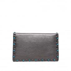 Женская сумка из натуральной кожи MIRONPAN 80223 цвет Темное серебро