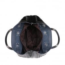 Красивая женские сумка из натуральной кожи с перфорацией MIRONPAN 70227 цвет Черный