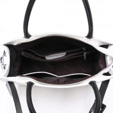 Женская кожаная сумка MIRONPAN 70307 цвет Белый с черный