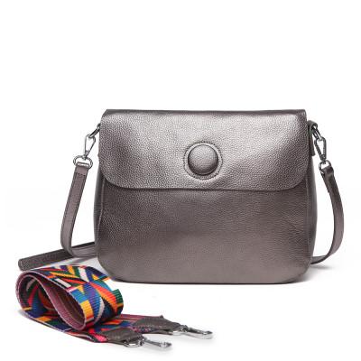 Женская кожаная сумка MIRONPAN 1055 цвет Темное серебро